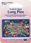 H678 Plastic Coloured Heads Pins: Nickel - 38mm, 75pcs